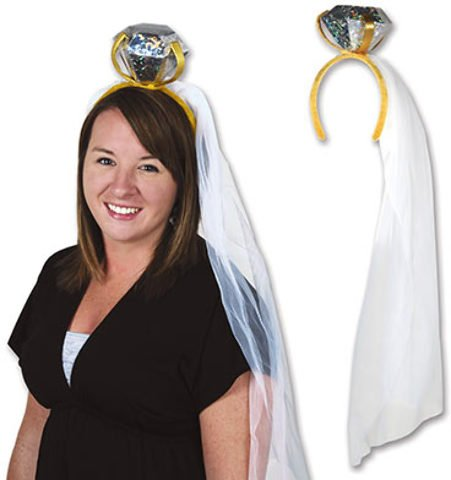 Price comparison product image dolly2u Diamond Ring Headband with Veil Case Pack 12
