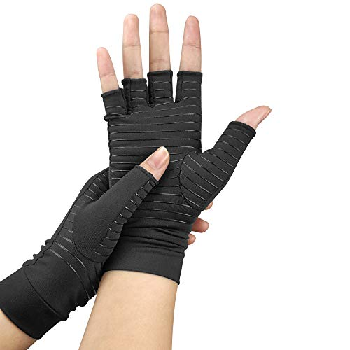 3b902a1c30 Copper Infused Compression Arthritis Gloves for Men & Women,Fingerless  Carpal Tunnel Gloves for Relieve Pains & Computer TypingSwollen Hands, ...