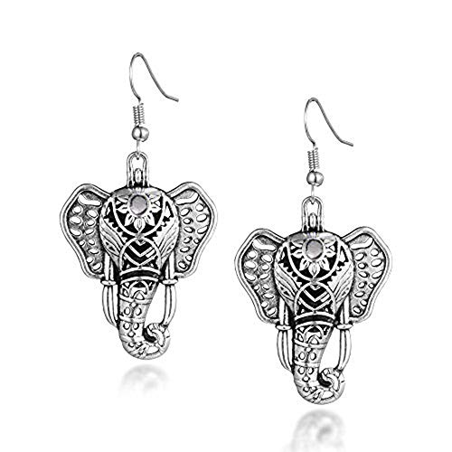 Boho Style Elephant Lava Stone Essential Oil Diffuser Earrings Antique Silver Plated Dangle Earrings Aromatherapy Earrings for Women