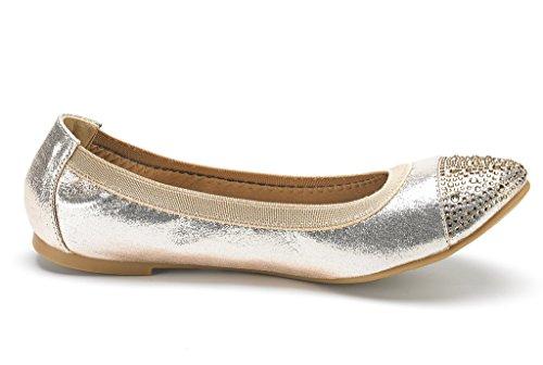 Plain De Ballet Las Mujeres Slip Pares Sólido dorado On Suave Comodidad Mocha D Zapatos Sueño flexsole Casual Flats fznFt8zqx