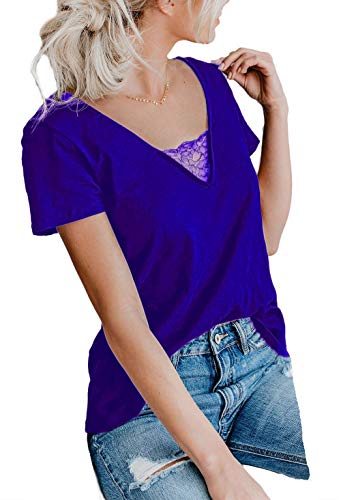 DREAGAL Womens Summer Loose Lace Trim V Neck Tops Sexy Casual Sport Tee Blue ()