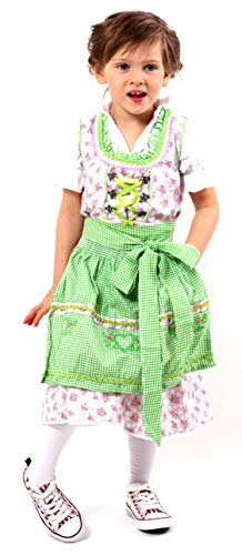 Adorable and Authentic German 3 PCS. Dirndl, Summer, Spring Dress Outfit for Girls in Green and Rose Size 4T (4T, Green and Rose) -
