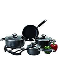 Imperial Home Induction Cookware Sets Nonstick 10 Pc Black Pots and Pans Set Nonstick PTFE and PFOA Free Pots...