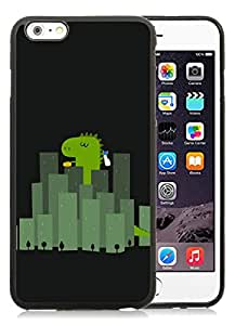 iPhone 6 Plus 5.5 inches Cute Dinosaur Wandering In Cities Black Screen TPU Cellphone Case Beautiful and Nice Design