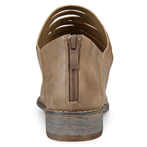 Journee Collection Mujeres Strappy Almond Toe Flats Taupe