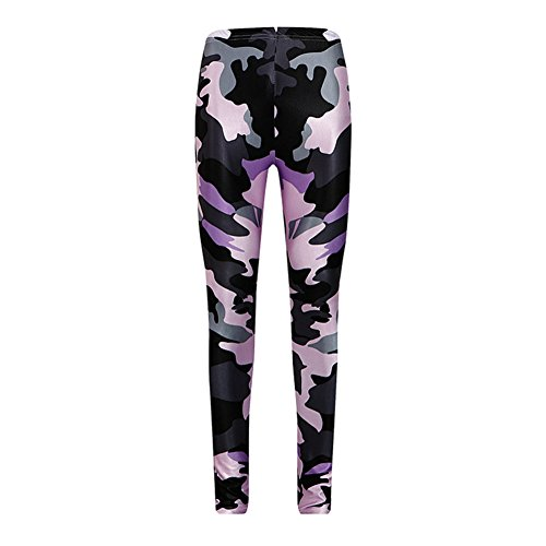 Morbuy Pantalon de Yoga Purple Camo, Femmes Legging de Sport Pantalons Beau motif Elastiques de Yoga Pantalons Fitness Gym Leggings élastiques (M)
