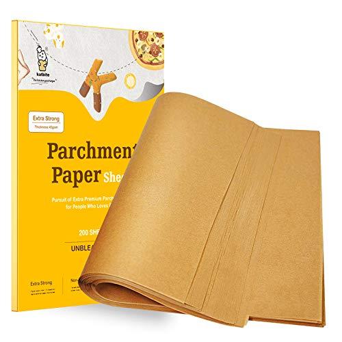 Katbite 200Pcs 9×13 inch Heavy Duty Unbleached Parchment Paper, Parchment Paper Sheets for Baking Cookies, Cooking…
