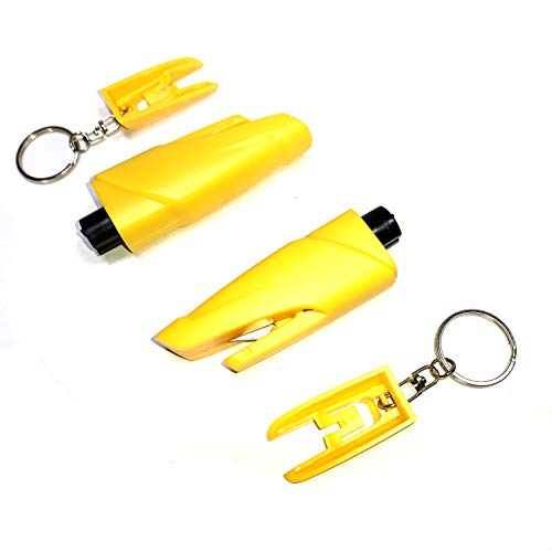 MicAuto Escape Tool, Emergency Car Escape Tool Window Glass Breaker and Seatbelt Cutter with Keychain, Pack of 2 (Yellow)