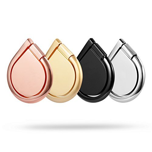 【Great Gift】Cell Phone Ring Holder, Bestfy 4 Pack Cell Phone Grip Kickstand, 360° Rotation, Water Drop Shape, Zinc Alloy Finger Ring Stand for iPhone, Smartphones (With 5 Car Mount Hooks)