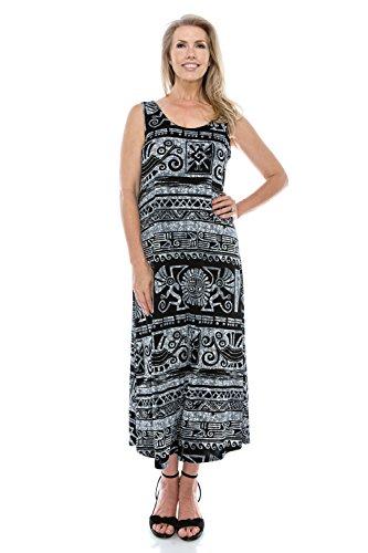 Women's Jostar Long W901 Black Tank Print Dress Stretchy dPvExwqrnP