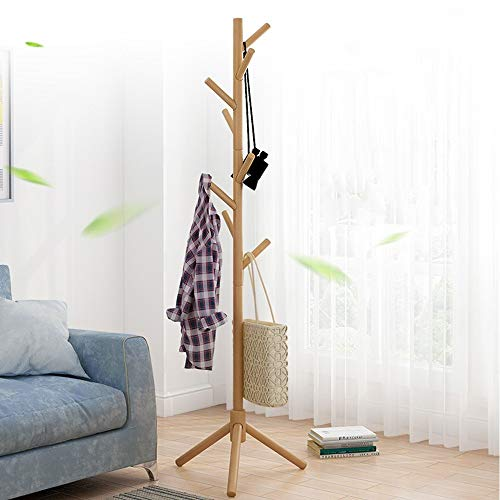 (Coat Rack Hanger, Free Standing Coat Rack Natural Wood Tree Coat Rack Wall Mounted Bedroom Multi-function Rack Simple Clothes Rack Home (Khaki))