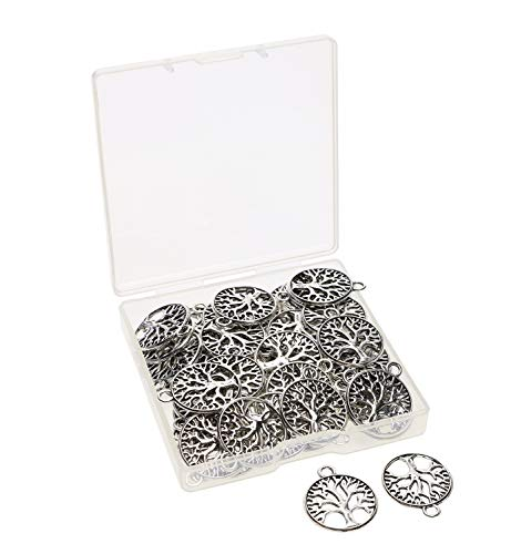 Shapenty Round Metal Tree of Life Charms Pendants Beads Bulk Jewelry Findings Making Accessory for DIY Craft Bracelet Necklace Earring Keychain, 50PCS (Antique Silver)