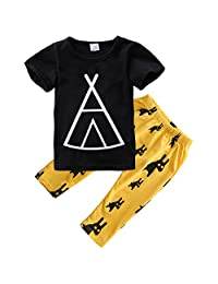 Baby Boys Short Sleeve Graphic T-shirt and Animal Print Pants Outfit