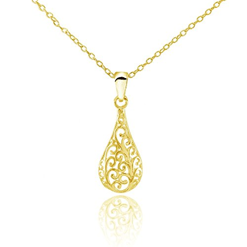 Yellow Gold Flashed Sterling Silver Teardrop Filigree Drop Necklace