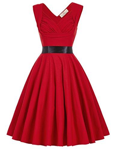 GRACE KARIN Damen Vintage Rockabilly Kleid 1950er Jahre Partykleid ...