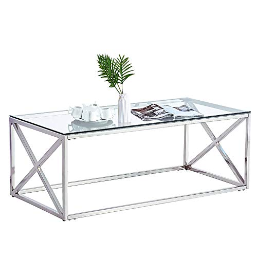 Trustiwood Modern Rectangle Coffee Table, Clear Tempered Glass Top Cocktail Side End Table with Stainless Steel Living Room Furniture,Silver -