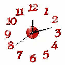 FlorLife Modern Wall Clock 3D Mirror Wall Clock Large Red Mute DIY Frameless Clock with Numbers Unique Mirrors Wall Sticker Clock Decoration for Home Office