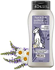 Wahl Canada Four in One Dog Shampoo & Conditioner, Plant Derived Shampoo in Lavender Chamomile, to Clean, Condition, Detangle and Moisturize Your Dog, Paraben-Free, 700ml, Model 58318
