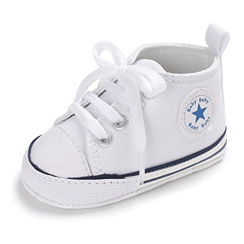 (Unisex Baby Girls Boys Canvas Shoes Soft Sole Toddler First Walker Infant Sneaker Newborn Crib Shoes(White,0-6Month))