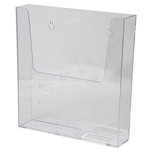 Clear-Ad - LHW-M161 - Clear Acrylic Adhesive or Wall Mount Brochure Holder 8.5x11 - Plastic Flyer Display - Single Pocket Box for Magazines, Papers, Files, Literature, Pamphlets, Documents (Pack of 4) (Single Brochure Pocket Holder)