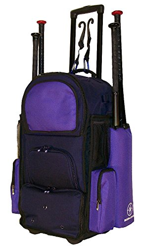 MAXBALLABGS New Vista CTR in Navy Blue and Purple Softball Baseball Bat Equipment Roller Backpack with Innovative Removable Bat Sleeves, Embroidery Patch and Pull Out Handle