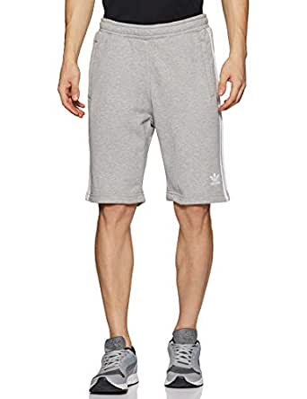 adidas Men's 3-Stripes Shorts, Medium Grey Heather, S
