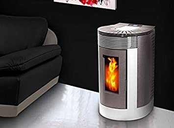 Emaflam - Moderna estufa de pellets (laterales de metal lacado, parte frontal y cubierta de hierro fundido, incluye mando a distancia): Amazon.es: Hogar