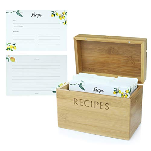 (Mint + Elm Recipe Box Set with 100 4x6 recipe cards, 10 dividers, bamboo box, and card holder. Cards made with thick card stock. Perfect recipe organizer.)