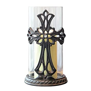 Stonebriar Decorative Glass Hurricane Pillar Candle Holder with Bronze Metal Base and Jeweled Cross Detail  sc 1 st  Amazon.com & Amazon.com: Stonebriar Decorative Glass Hurricane Pillar Candle ...