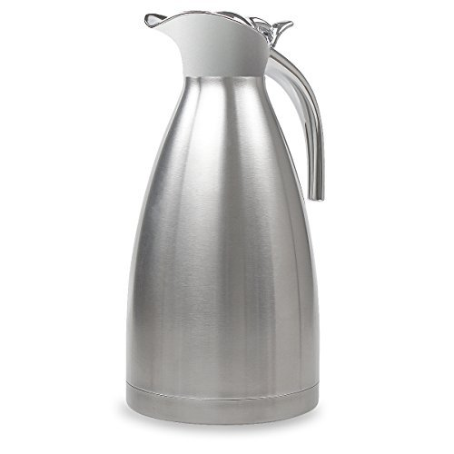 68 Oz Stainless Steel Thermal Coffee Carafe Double Wall Vacuum Insulated with Press Button Silver by TIMMY (Double Wall Carafe)