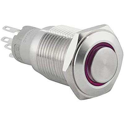 """JacobsParts Latching Pushbutton ON/OFF Maintained Power Switch Circular Metal Silver with Purple LED fits 5/8"""" (16mm) Diameter Panel Cutout Hole: Automotive"""