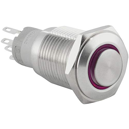 JacobsParts Momentary Pushbutton Starter Switch Circular Metal Silver with Purple LED fits 5/8