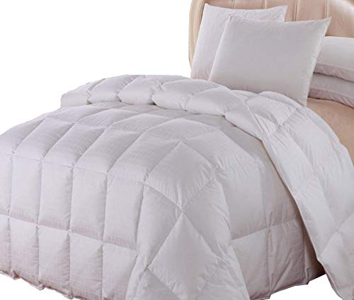 Royal Hotel Dobby Down Comforter 650-FILL-POWER Down-Fill, 100% Cotton 300-Thread-Count, King Size, Down White