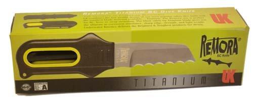 Remora Titanium, Blunt Tip, Yellow (Titanium Knife Tip Blunt)