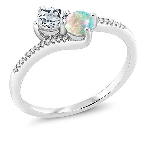 Gem Stone King 10K White Gold Forever United 2-stone Diamond Engagement Ring 0.75 Ct Round White Topaz White Simulated Opal (Size 7)