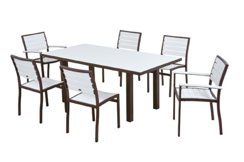 POLYWOOD PWS117-1-16WH 7-Piece Dining Set, Euro, Textured Bronze/White price
