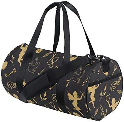 PONIKUCY Sporttasche Reisetasche, Aquarell Nahtlose Grenze niedlichen Cartoon Tiere,mit Schuhfach und Schultergurt Handgepäck für Übernachtung Reisen