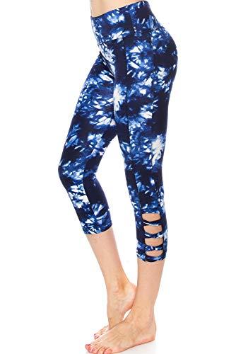 Capri Tie Dye Tights - KLKD C034 Women's Dye Print Capri Leggings - Criss Cross Straps Sports Yoga Activewear, Blue, Small