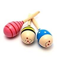 6Pcs Mini Wooden Fiesta Maracas(Colors Vary)