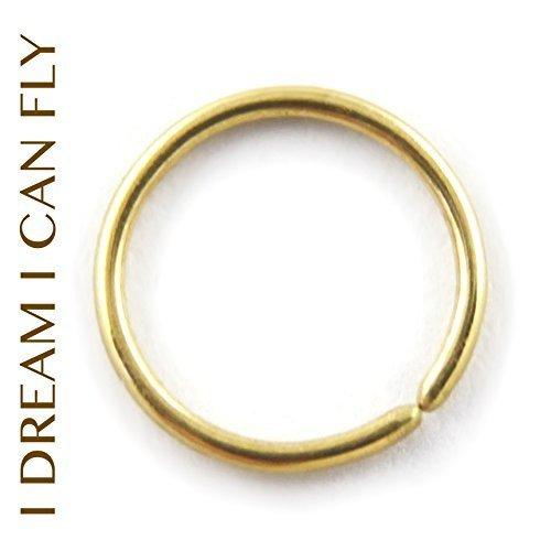 22k Gold Hoop Earrings (Solid 22K Gold Cartilage Hoop / Nose Ring 9mm 20g - 22K yellow gold 9mm 20 gauge Seamless Hoop Earrings)