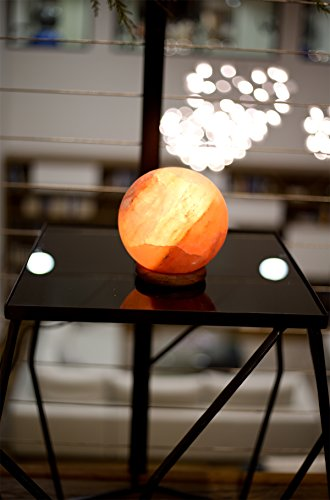 Natural Himalayan Salt Lamp Globe Hand Crafted Sphere by Ambient Authentic Natural Crystal Salt Rock with UL Listed Dimmer Switch by Ambient Salt Lamp (Image #5)