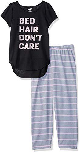 Crazy 8 Girls Big Short Sleeve Curve Hem Flame Resistant Pajama Set, Bed Hair Dont Care, S