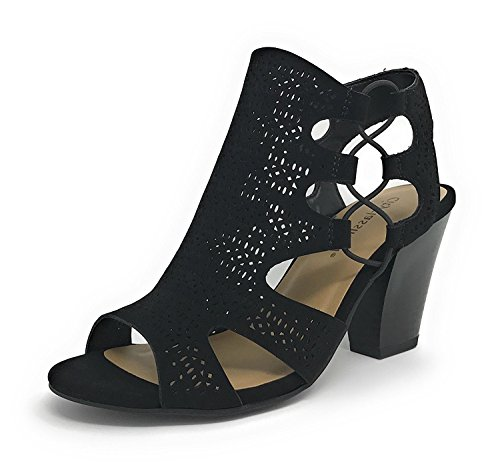 Black Sandals Womens Studio Heels (City Classified Open Toe Perforated Lace up Elastic Side Stacked Chunky Heel Sandal, Black, 10)