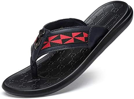 InChengGouFouX Leichte Strandsandalen Flip-Flop Strand Schuhe Casual Männer Sandalen First Layer Leder-bequemer Slipper für Indoor Home Badezimmer am Pool (Farbe : Braun, Size : 39)