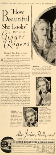 1935 Ad Max Factor Make-Up Studios Rouge Ginger Rogers Beauty Hollywood Society - Original Print Ad by PeriodPaper...
