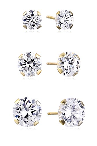 Jewelili 10kt Yellow Gold Three Stud Earrings set with Round Cut Swarovski Zirconia (3.5cttw) ()