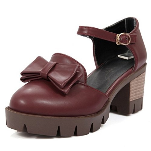 COOLCEPT Damen Klassische Knochelriemchen Sandalen Blockabsatz Plateau Schuhe Mit Bogen Gr Rotwein