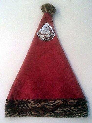 - Santa Hat with Tiger Print Trim