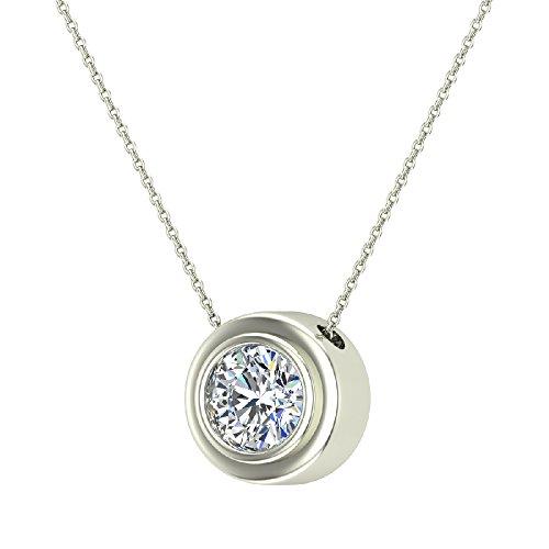 (14K Gold Necklace Round Diamond Bezel Set Solitaire Chain Slide 5.80 mm (white-gold, 22.00))