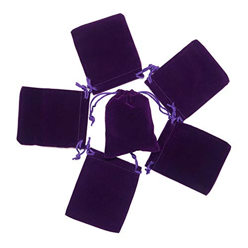 HRX Package Small Velvet Jewelry Bags with Drawstring, 20pcs Velvet Cloth Gift Pouches Purple (2.8